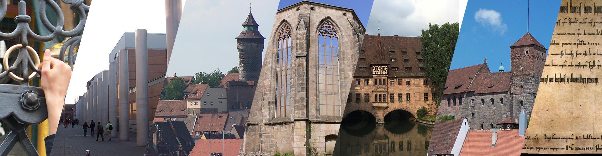 Ring am Schönen Brunnen, Straße der Menschenrechte, Sinwellturm, Katharinenkloster, Heilig-Geist-Spital, Burggrafenburg, Sigenaurkunde